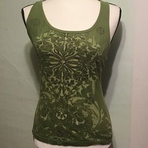 FANG green tank with sparkle and sequins